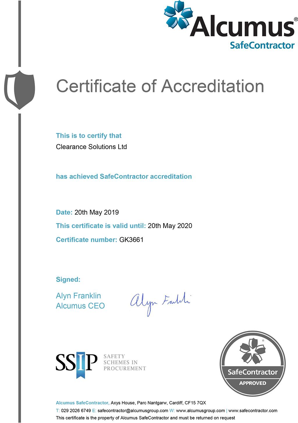 SAFECONTRACTOR ACCREDITATION Certificate